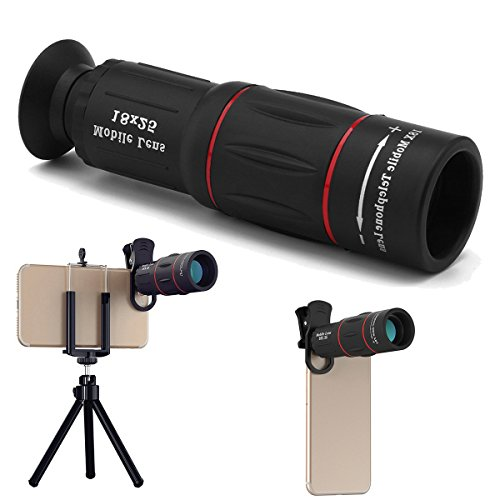 Abedoe 18x25 Monocular Telescope, 1000m Zoom Phone Camera Lens High Power Prism with Tripod Clip for Game Concerts Bird Watching Hunting Camping Travelling Wildlife Secenery,Universal for All Phones by Abedoe