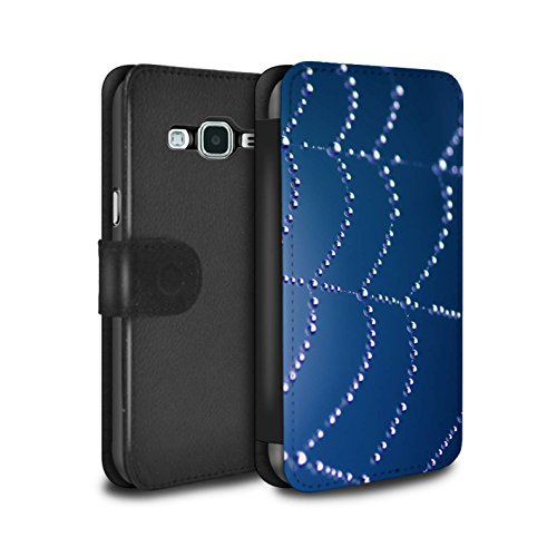 STUFF4 PU Leather Wallet Flip Case/Cover for Samsung Galaxy J5 2016/Blue Design/Spider Web Pearls Collection