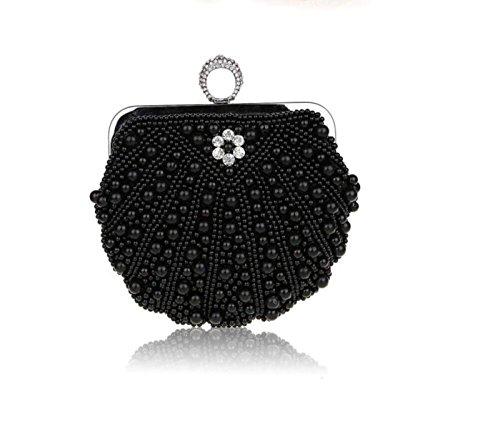 GSHGA Para Mujer Bolsos De Embrague Paquete De La Cena De La Perla Paquete De Hombro Bolso De Cadena Banquete De Bodas,Champagne Black