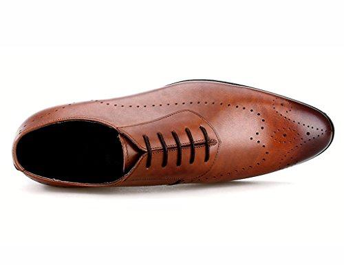 Herren Lederschuhe Frühlings-Geschäfts-formale Abnutzung spitzte Breathable Lace British Style Herrenschuhe männlich Herrenschuhe ( Farbe : Braun , größe : EU 41/UK7 ) Braun