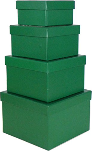 Cypress Lane Square Gift Boxes, a Nested Set of 4, 3.5x3.5x2 to 6x6x4 inches (Green) by Cypress Lane
