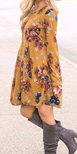 Casual A Splicing Dress Yellow Long Printing Sleeve Swing Line Women Coolred qRaxXSx