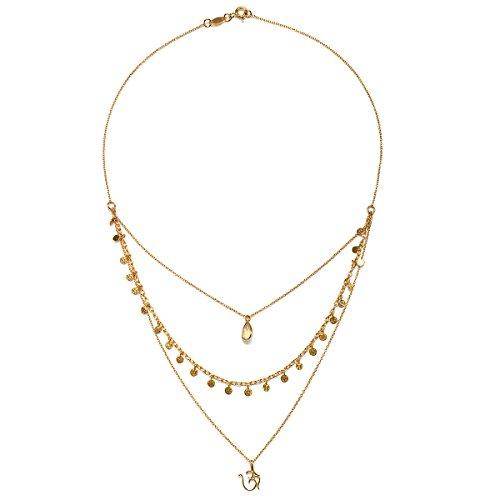 Satya Jewelry Citrine Gold Plate Om Triple Chain Necklace, 20'' by Satya Jewelry (Image #1)