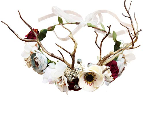 Vivivalue Deer Flower Crown Boho Flower Headband Hair