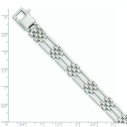Blanc 14 carats brossé et poli Bracelet lien-JewelryWeb - 22 cm