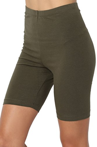 TheMogan Women's Mid Thigh Cotton High Waist Active Short Leggings Olive ()