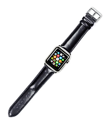 Debeer Replacement Watch Strap - Smooth Leather - [Short Length] - Black - Fits 42mm Apple Watch Series 1, 2, 3 [Black Adapters]