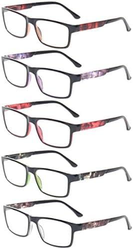 Reading Glasses 5 Pack Spring Hinge Rectangular Readers Quality Fashion Glasses