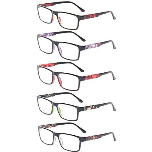 Reading Glasses 5 Pack Spring Hinge Rectangular Readers Quality Fashion Glasses (5 Pack Mix Color, - X Glasses
