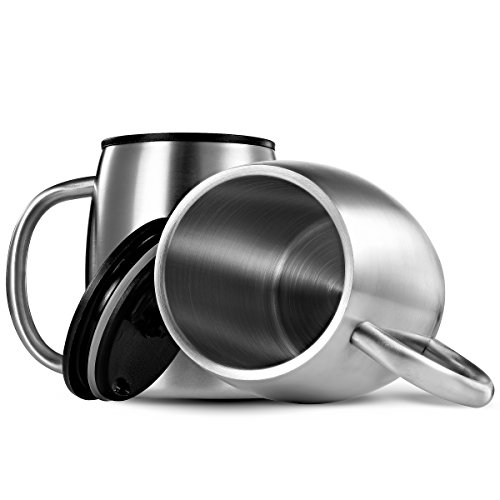 FineDine Premium Grade Stainless metal espresso Mugs together with Lids Set of 2 twice Walled Insulated Beer trave Mugs keep awesome Cold Longer BPA Free Spill tolerant eye lid comfy Handle 14 Oz Commuter trave Mugs