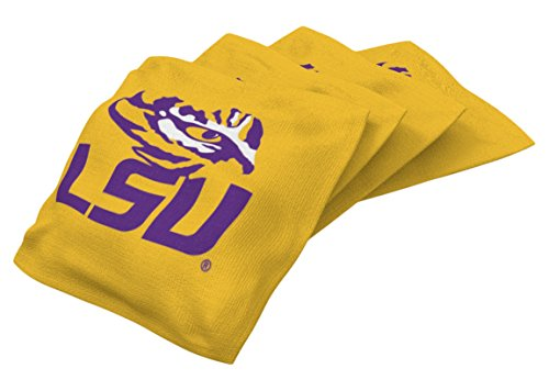 (Wild Sports NCAA College LSU Tigers Yellow Authentic Cornhole Bean Bag Set (4 Pack))