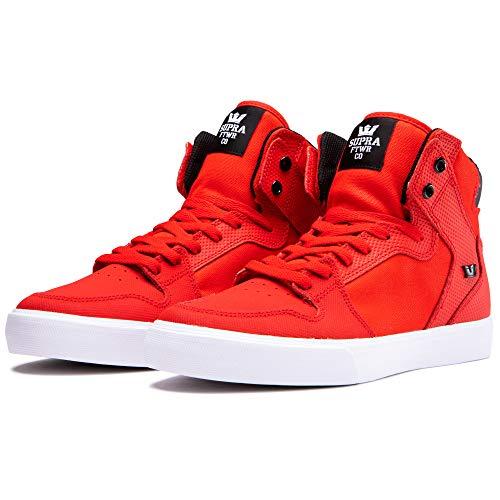 Supra Footwear - Vaider High Top Skate Shoes, Risk Red/Black-White, 9 M US Women/7.5 M US Men