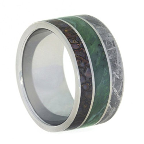 Nephrite Jade, Gibeon Meteorite, Dinosaur Bone 12mm Comfort-Fit Titanium Wedding Band, Size 6.5 by The Men's Jewelry Store (Unisex Jewelry)