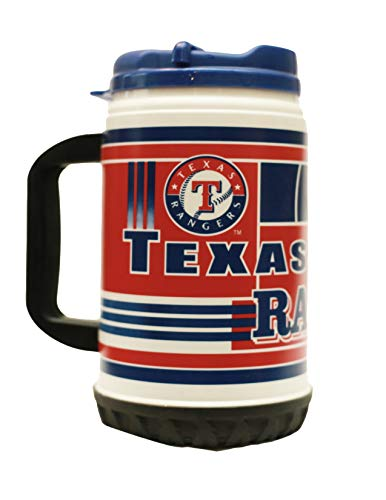 MLB Texas Rangers 24 oz Tire Mug with Lid by Whirley Drink Works Perfect for Travel and Sports Events On The Go, Dual Walled For Better Insulation, Good For Cooling Or Heating