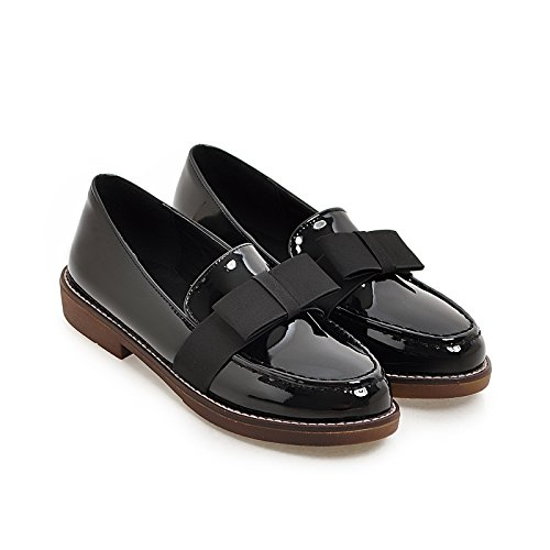 Women's Round Toe Flat Loafers Sweet Casual Shoes with Bow Black - 5