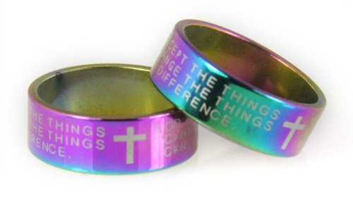 S20 Rainbow Multi Color Serenity Prayer Stainless Steel Ring Jesus Christ AA 12 Step - Cross Color Ring Multi