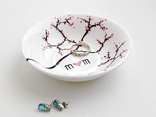 (Cherry Blossom Branch Jewelry Bowl, Personalized Ring Dish, Personalized Jewelry Bowl, gift for her)