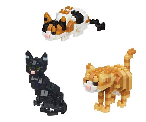 Black Tabby Cat - Nanoblock Animals - 3 Cats - Black, Tabby and Calico Cats Sets (Japan Import)