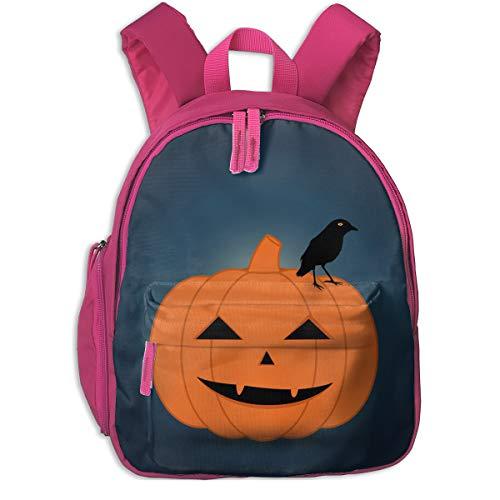 Halloween Pumpkin Print Double Zipper Waterproof Children Schoolbag With Front Pockets For Kids Boy Girls ()