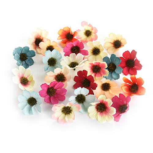 Flower heads in bulk wholesale for Crafts Silk Artificial Gerbera Sunflowers Daisy Fake Flowers Head DIY Cake Wedding Decoration Artificial Flowers Craft Party Home Decor 100pcs 4.5cm (Colorful)