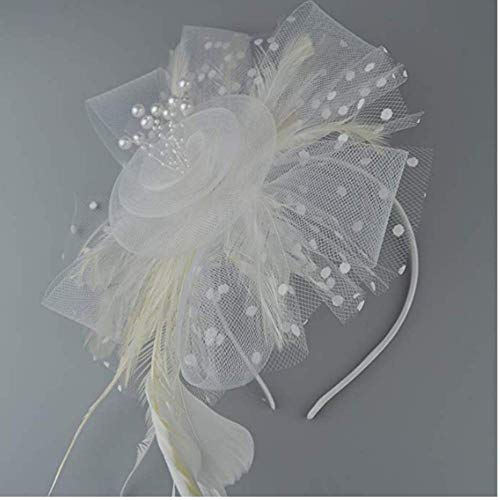 Fascinators Hat Flower Mesh Ribbons Feathers on a Headband and a Clip Tea Party Headwear for Girls and Women (White)