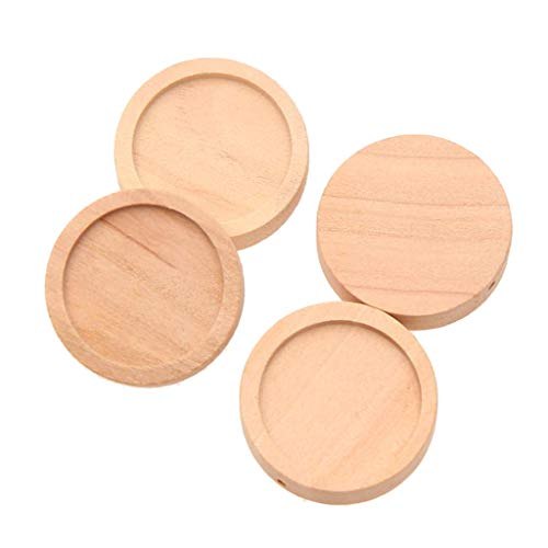 (SM SunniMix 50x Blank Wooden Cabochon Base Cameo Tray Charms Pendants Setting 25mm Suit for Resin,Glass,Metal,Gemstone,Diamond,Crystal Material)