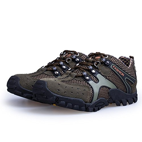 [Autumn Melody Outdoor Fashion Casual Suede Breathable Mesh Men Hiking Shoes Size 7.5 US Green] (Trailer Trash Outfits)