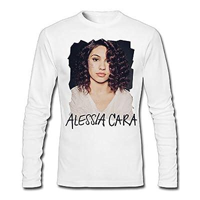 KUMAR394 Alessia-Cara Men's Hipster Long Sleeve T-Shirt White