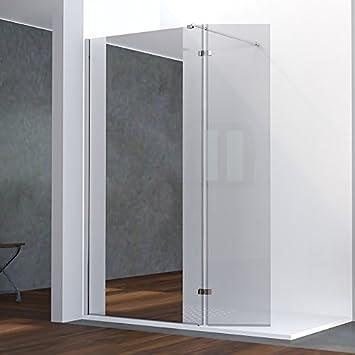 paroi de douche fixe avec retour 8 mm baya 12040 cm et miroir - Paroi De Douche Avec Retour Pivotant