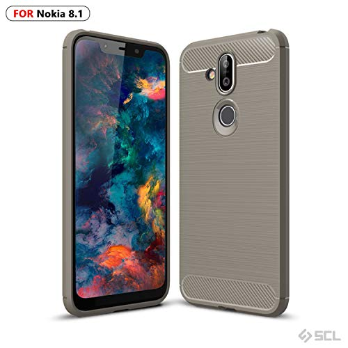 SCL Case Compatible with Nokia 8.1, SCL Phone Case Exquisite Series-Carbon Fiber Design Protective Cover with Anti-Scratch and Shock-Absorption Technology Compatible with Nokia 8.1-Gray