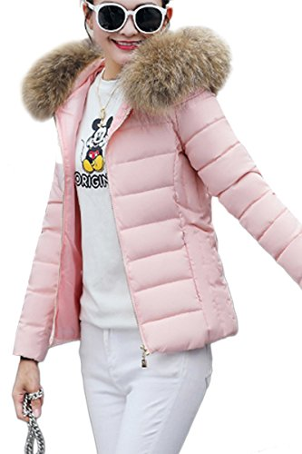 Detachable Winter Jacket YMING Fur C Women With Puffer pink Hood Quilted Winter Warm Jacket q4xzpC