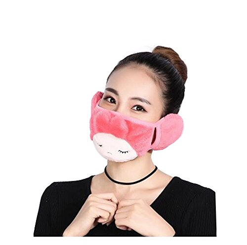 Fashion Parent-child Winter Warm Cloth Face Mouth Mask Mother & Daughter Thicken Anti Dust Anti-fog Earmuff Mouth-muffle Safety Particle Respirator Filters Protection (Adult, Pink)