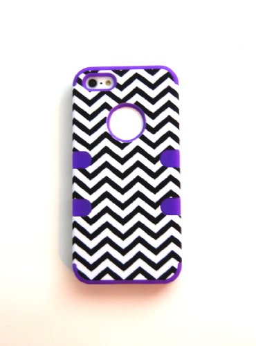 TCD for Apple iPhone 5 5S Hybrid [PURPLE] Chevron Design [HIGH IMPACT] Case Cover Multiple Layers [Hard Outter Layer, Soft Inner Layer] Includes [FREE SCREEN PROTECTOR AND STYLUS PEN]
