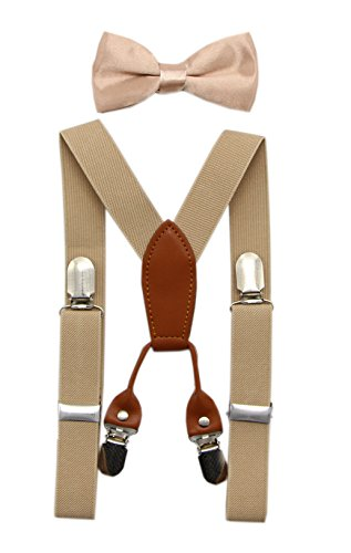 (JAIFEI Toddler Kids 4 Clips Adjustable Suspenders and Matching Bow Tie Set (Champagne))