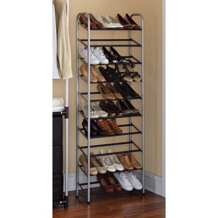 Mainstays 10-Tier Shoe Rack, Silver