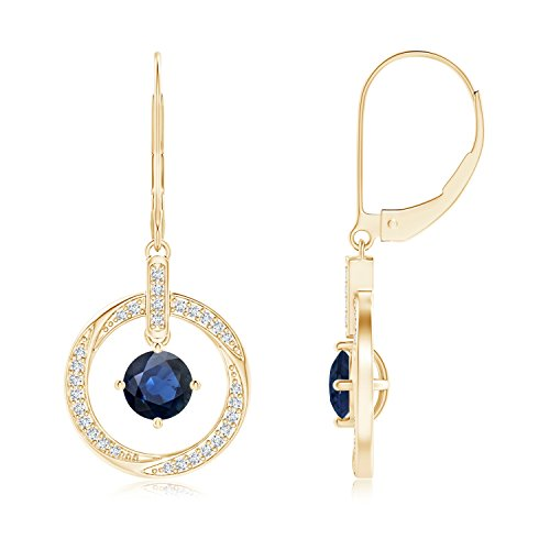 Sapphire Open Circle Drop Earrings with Diamond Accents in 14K Yellow Gold (5mm Blue ()