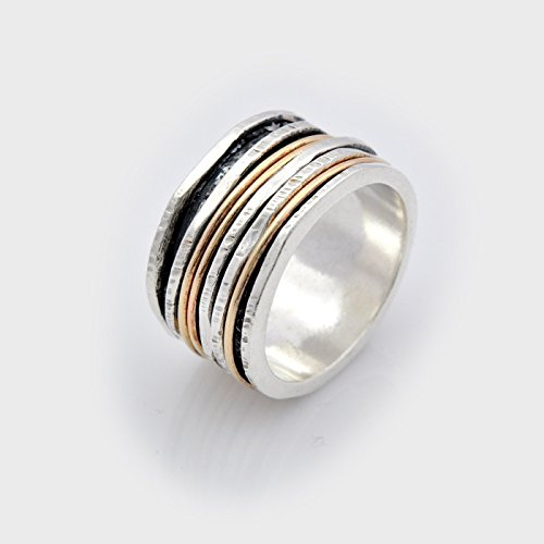 Ring Handcrafted 14k (Six piece silver and gold mixed spinning ring Handmade Spinner Band size 6 to 9)