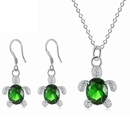 MYANAIL Crystal Turtle Pendant Necklace Earring Set, Cute Animal Sea Turtle Clavicle Necklace Drop Earrings Jewelry Set (Green)