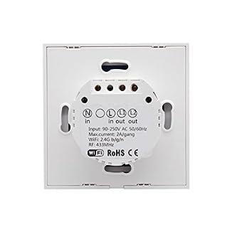 T1 EU Smart WiFi Touch Interruptor de luz de pared 2 Gang 86 Tipo Panel de pantalla táctil con control remoto inalámbrico compatible con Android y la aplicación IOS para Smart Home