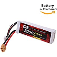 11.1V 3000mAh LiPo Replacement Battery (XT-60) Connector Plug for DJI Phantom FC40 F450 F550 Cheerson CX-2