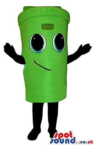 [Cute Green Trash Can Or Recycling Box Plush SPOTSOUND US Mascot Costume] (Recycle Bin Costume)