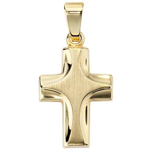 Bijoux hauteur pendant des bijoux croix en or jaune des femmes givré environ 17,8 mm, largeur environ 11.1mm