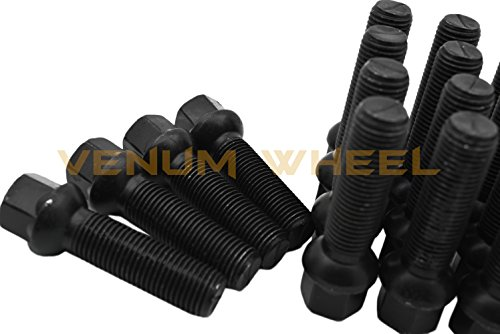 Complete Staggered Kit of 25mm & 30mm Black Hubcentric (57.1) Wheel Spacer Audi Volkswagen 5x100 & 5x112 Bolt Pattern + 20 Pc 14x1.5 Black Ball Seat Lug Bolts … by Venum wheel accessories (Image #6)