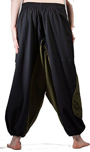 Pantalones de harén, pantalones de Aladdin, harén pantalones, pantalones de yoga, pantalones de Alibaba Black and Teal