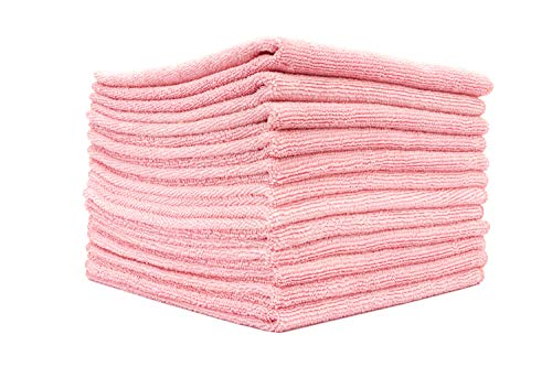 - (12-Pack) 12 in. x 12 in. Commercial Grade All-Purpose Microfiber Highly Absorbent, LINT-Free, Streak-Free Cleaning Towels - THE RAG COMPANY (Pink)