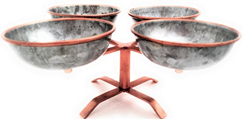 Galrose ENTERTAINMENT CONDIMENTS SERVING BOWL SET ON STAND - 4 Galvanized Iron Bowls for nuts chips dips snacks candy jams sauces pickles with Rose Gold Lip & Stand Unique Industrial Chic Gift Idea ()