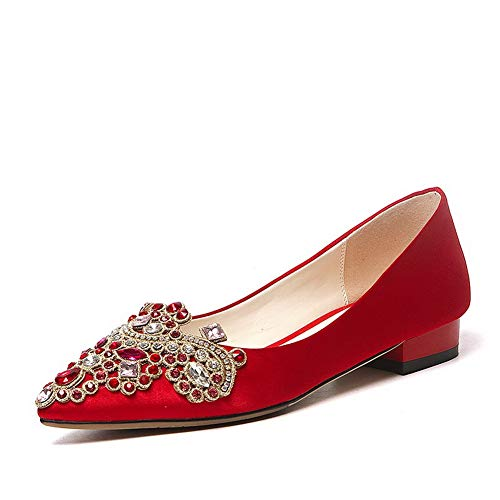 BalaMasa Womens Studded Dance-Ballroom Beaded Urethane Pumps Shoes APL11100 Red