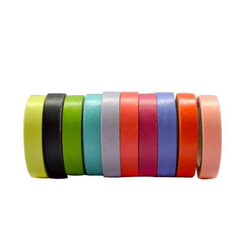 Lychee Craft 10 Rolls Mini Rainbow Candy Color Washi Tape DIY Sticker