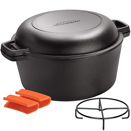 Overmont 5 Quart Dutch Oven Cast Iron Pre Seasoned Casserole Pot Dual Function Lid Skillet with Handle Covers Stand for Camping Home Cooking BBQ Baking