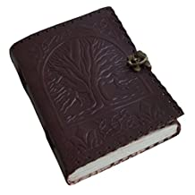 """BnB 8"""" Blank Leather Journal large diary travel writing pad sketch book gift for kids school notebook fancy journal without lines with Clasp lock"""